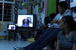 Stacey Ann Chin skyping into SO((U))L HQ in Jamaica.