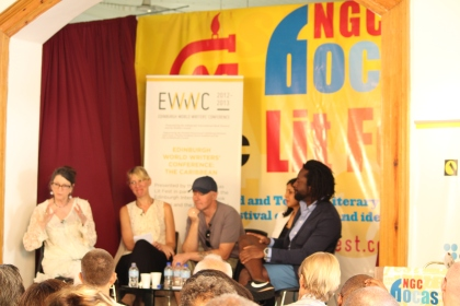 "Edinburgh World Writer's Conference panel  ""A National Literature?"", chaired by Marina Warner and featuring writers Marlon James, Vahni Capildeo, Hannah Lowe, and Irvine Welsh."