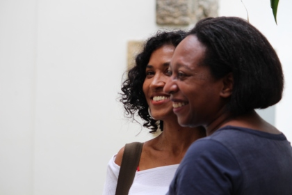 Guyana-born, Grenada-based novelist Oonya Kempadoo with literary agent Elise Dillsworth