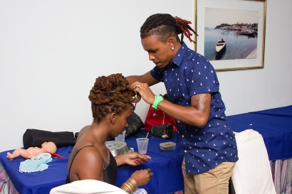 Host, Aruna Neptune getting her hair in an awesome up do by an awesome guy *_*