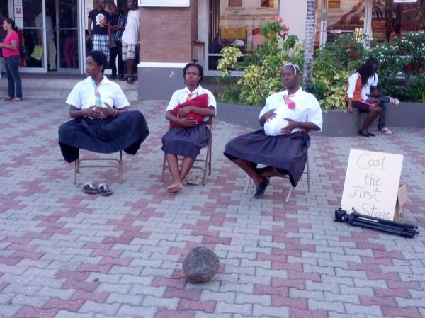 Malaika, Damali and Ayisha during their public performance. Photo by Zoë Hagley