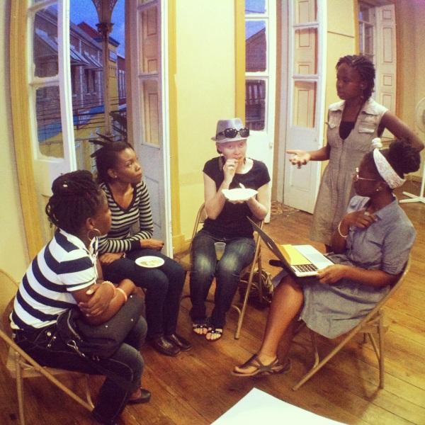 Performance art workshop Day 1. Tanisha, Cathisha, Liz and Melinda with Damali (standing)