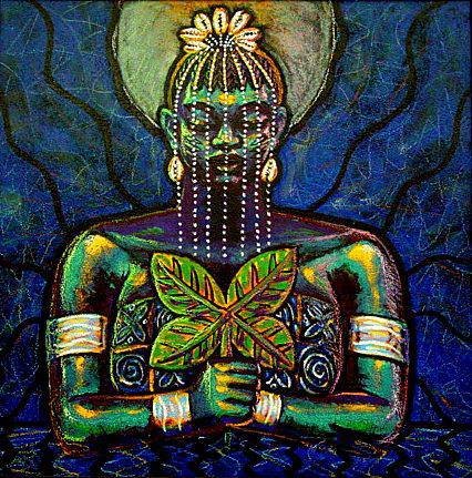 """-Yemonya in Life Giving Waters""  mixed media on masonite-2006  by Ammar Nsoroma"