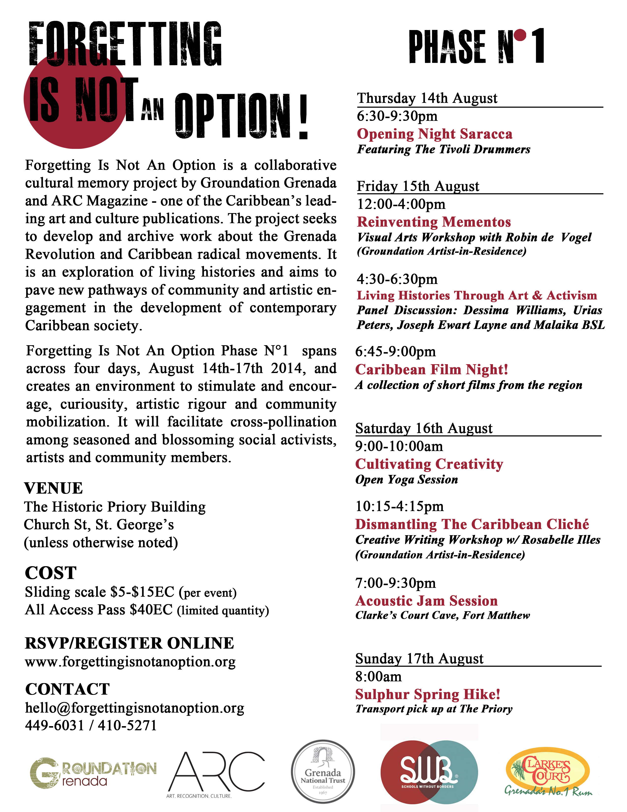 groundation august events forgetting is not an option phase n 1